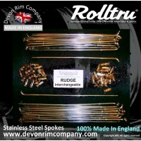 """RG1-INT-SSP 19"""" Premium Butted Stainless Steel Spoke Set for Rudge Interchangeable QD Hubs"""