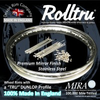 Rolltru Premium Finish Stainless Classic Dunlop Profile Rim, Spoke & Nipple Kits