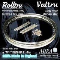 Rolltru Premium Finish & Valtru Trade Finish Stainless Dunlop Profile Rim, Spoke & Nipple Kits