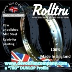 "VEL1-RAW 19"" WM2 Rolltru Premium Raw Steel Rim for Velocette 7"" Half Width Front **36 HOLE**"