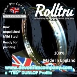 "AA16-1-21-RAW 21"" WM1 Ready to Chrome Raw Steel Devon Rolltru Rim for Ariel 7"" Single Sided Front Hub"
