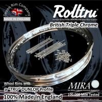 """MB22-250-CH-KIT 19"""" WM2 Rolltru British Chrome Rim & Spoke Kitfor BSA - Ariel Alloy Full Width"""