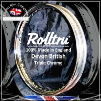 "N15-CH 19"" WM2 Rolltru British Chrome Rim for Norton Cotton Real Spool Rear"