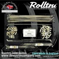 """AA15W-SLOT-SSP 19"""" Rolltru Stainless Steel spoke set for Ariel 7"""" Slotted Rear Hub 4111-39, 41219-39, 41319-39."""