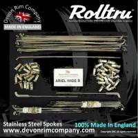 """AA15W-SSP 19"""" Rolltru Stainless Steel spoke set for Ariel 7"""" Wide Rear Hub 4111-39, 41219-39, 41319-39."""
