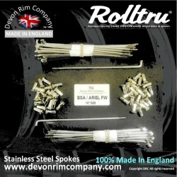 MB22-250-SSP Rolltru Premium Stainless Steel Spokes for ARIEL / BSA ALI FULL WIDTH FRONT & REAR HUB ON 19'' RIM