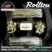 BSA16-SSP DEVON Rolltru STAINLESS STEEL SPOKES FOR BSA QD / CRINKLE REAR 19'' RIM