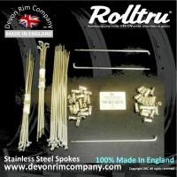 """MB10-SSP 18"""" Rolltru Stainless Steel spoke set for Triumph Bolt On & QD Rear Hub, also fit BSA Rocket III Rear W1107, W3402, W1108."""