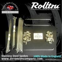 "MB108-SSP 19"" Rolltru Stainless Steel spoke set for Triumph Bolt On & QD Rear W1126, W1127, 37-1126, 37-1127."