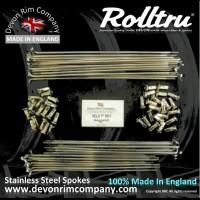 "VEL3-SSP 19"" Rolltru Premium Stainless Spoke Set for Velocette 7'' Single Sided Front with 3.1"" PCD Non Brake Flange 36 Hole"