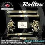"""VEL6-SS-KIT 19"""" WM1 Rolltru Premium Stainless Rim  & Spoke Kit for Velocette LE Half Width Front & Rear"""