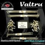 """VEL6-2-19-KIT 19"""" WM2 Valtru Stainless Rim & Spoke Set for Velocette LE Half Width Front & Rear"""